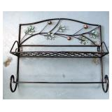 "Decorative Metal Wall Shelves With Leaf Design, Qty 5, 15"" x 18"" x 7"""