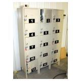 "5-Tier 3-Wide Locker With Padlocks And Keys, 66"" x 45"" x 16"""