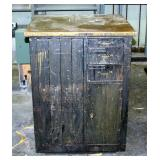 """Vintage Keystone Type Foundry 8-Drawer Metal Cabinet With Brass Top, 39"""" x 29.25"""" x 27"""""""