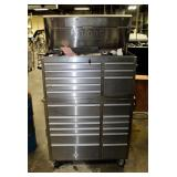 """Knight Two-Piece Stainless Steel 20-Drawer Rolling Tool Chest With Key, 62"""" x 46"""" x 19"""""""