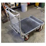 Folding 4 Wheel Heavy Duty Push Cart With Basket, 3