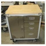 Seville Classics 4 Drawer Rolling Toolbox Workstation With Solid Wood Top