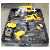 """DeWalt Power Tools Including 6.5"""" Circular Saw, Flashlight, Reciprocating Saw, Battery, And Charger,"""