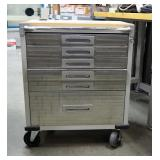 """Seville Classics 6 Drawer Rolling Metal Shop Cabinet With Key 35"""" X 28"""" X 21"""""""