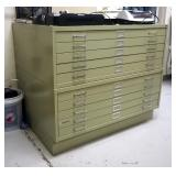 """Safco 5 Drawer Steel Flat File Cabinets, Qty 2, 24"""" x 36"""""""
