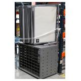 """Metal Retail Poster Cabinet With Swinging Poster Display Boards And Storage, 70"""" x 36"""" x 24"""""""