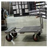 """Stainless Steel Adjustable Warehouse Cart With Hard Tires, 36"""" x 40"""" x 23"""""""