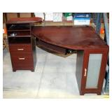 """2 Drawer Corner Desk With Keyboard Tray And Cabinet, 36"""" x 56"""" x 40.5"""""""