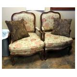 """Solid Wood Upholstered Accent Chairs With Padded Arm Rests And Carved Trim, Qty 2, 38.5"""" x 27"""" x 23"""""""
