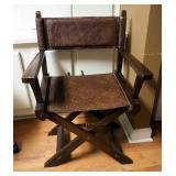 Adjustable Rolling Stool And Wood Folding Chair With Woven Seat And Back