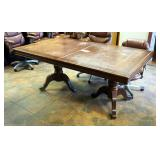 """Double Pedestal Dining Table With Leaf, 30"""" x 70"""" x 42"""""""