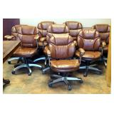 Adjustable Rolling Office Chairs With Leather-Like Upholstery, Qty 8