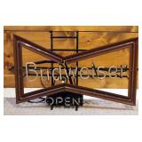 """Vintage Neon Budweiser Open Sign, Powers On, 19"""" x 32"""""""