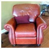 """Leather Mart Leather Recliner, 41"""" X 45"""" X 38"""", Includes One Decorative Pillow"""