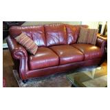 """Leather Mart Leather Sofa, 38"""" X 86"""" X 38"""", Includes Decorative Pillows"""