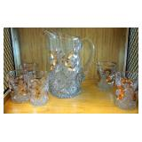 Crystal Pitcher And Five Tumblers