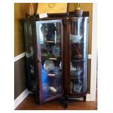 """Antique Curved Glass Curio Cabinet On Casters, With Key, 4 Wood Shelves, 61"""" X 42"""" X 14"""
