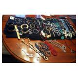Jewelry Assortment Including Necklaces, Bracelets, Bangles, Earrings, And More