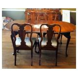 """Solid Wood Dining Table And 4 Chairs With Cabriole Legs, 29"""" X 75"""" X 44,"""" Includes 15"""" Leaf, Table P"""