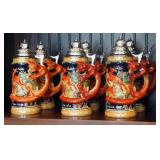 """Vintage 9"""" German Hand Painted Ceramic Beer Steins With Lids, Qty 6, Fox Handle Woodland Hunting Sce"""