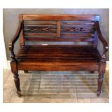 Solid Wood 2 Seat Bench, 33 x 39 x 24