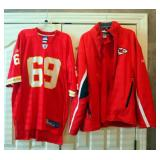 Reebok NFL Chiefs Large Zipper Front Jacket With Insert, And Allen Chiefs Jersey, XL