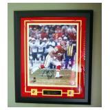 Framed Under Glass Autographed Tony Gonzalez 1997 NFL Round 1 Draft Pick Photo, Kansas City Chiefs,