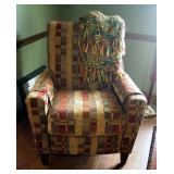 """Flex Steel Upholstered Reclining Chair, 41"""" x 32"""" x 34"""", With Throw Blanket"""