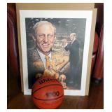 Autographed Norm Stewart Print, And Wilson Basketball Autographed By Norm Stewart And Dan Devine