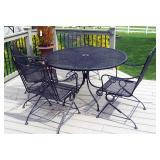 """Round Wrought Iron Patio Pedestal Table, 29"""" x 48"""", And Spring Loaded Chairs, Qty 4"""