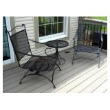 Wrought Iron Spring Loaded Rocking Chairs, Qty 2, And Side Table