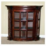 """Half Circle Curio Cabinet With 2 Shelves, Can Be Mounted On Wall or Sit On Floor, 27"""" x 29"""" x 10"""""""