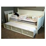 """Solid Wood Twin Day Bed With Trundle, 46"""" x 81"""" x 42"""", Includes 2 Mattresses And Bedding"""
