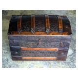 """Antique Camelback Storage Trunk, With Leather Handles And Stamped Hardware And Accents, 26"""" x 30.5"""""""