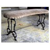 """Cast Iron Curved Vanity Bench With Upholstered Seat, 19"""" x 39"""" x 12"""""""