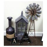"""Metal Hanging Windmill Clock, 33"""" Tall, Decorative Lantern Cabinet, Metal Vase And More, 5 Pieces To"""