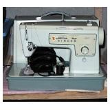 Vintage Portable Singer Sewing Machine, Zigzag Model 413 With Foot Pedal Controls, Sewing Notions, B
