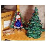 Ceramic Lighted Christmas Tree With Ornaments And A Painted Santa Christmas Tree Plate