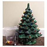 """Vintage Ceramic Lighted Christmas Tree With Ornaments, Measures 19"""" Tall"""