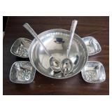 Towle Silver Smiths Inlayed Dish Set, Including Salad Bowl, Salad Spoon And Fork