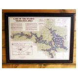 Wood Framed Lake Of The Ozarks And Osage Dam Aerial Map, Published And Copyrighted By Gallup Map Com