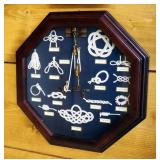 """Framed Under Glass Sailors Knots Display, 16"""" x 16"""", And Vintage Lure Display, 16"""" x 7"""""""