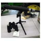 Omega 7 x50 Coated Optics Binoculars, And Tasco Spotting Scope, Model 17ED, With Tripod