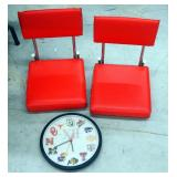Big 12 Conference Battery Operated Wall Clock, And Cushioned Stadium Seats, Qty 2