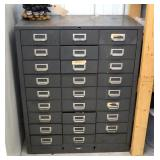 """Cole Steel 27 Drawer Hardware Cabinet, 37"""" x 30.5"""" x 17 Incl. Contents, Keeper Pins, Screws, Nails,"""