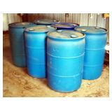 50 Gallon Plastic Barrels, Previously Held Fuel, Qty 6