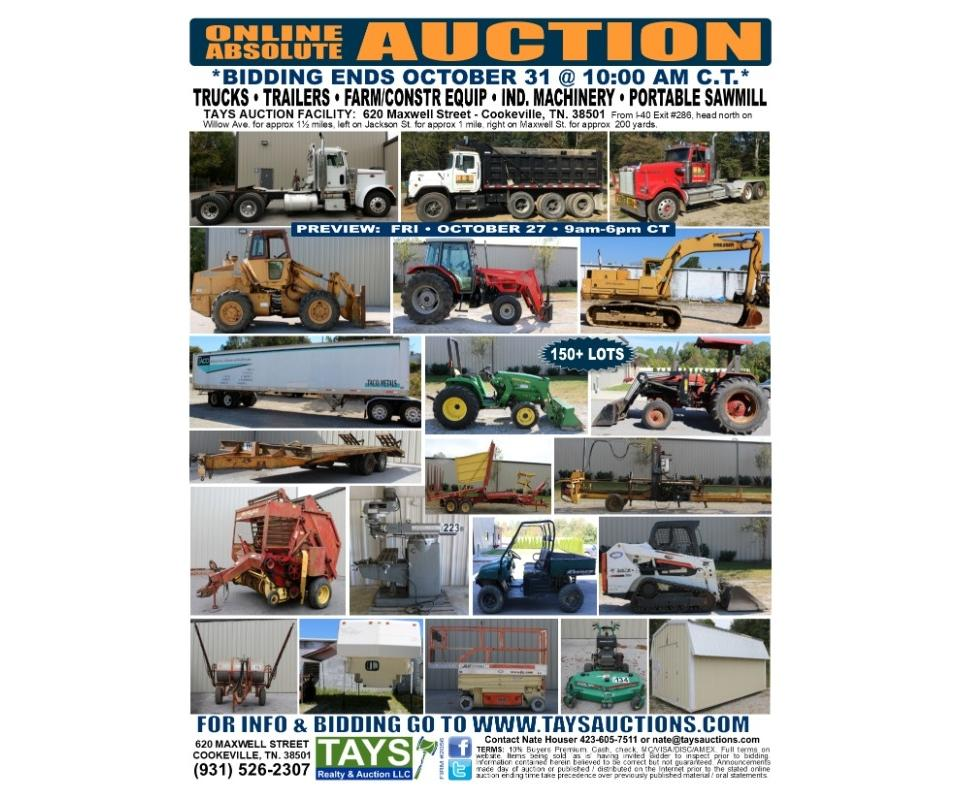ONLINE ABSOLUTE AUCTION of Trucks Trailers Equipment Industrial