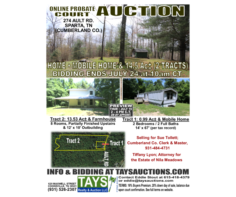 Online Probate Court Auction of Home Mobile Home and 14