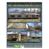 Online Bankruptcy Auction of Double-Wide on 6 Acres  Outbuildings and Dry Van Trailer