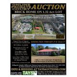 Online Probate Court Auction - Brick Home on 1.32 Acre Commercial Lot